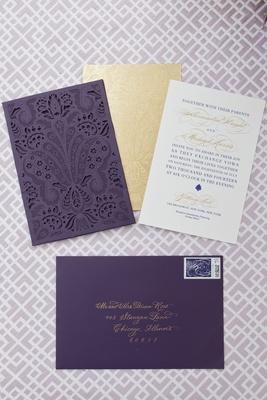 Alethia and Erik wedding invitation by Ceci New York, damask laser-cut sleeve, gold and purple