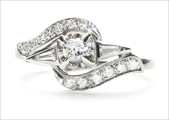 """Mid-century """"Kingston"""" ring in 14K white gold featuring a 0.13ct transitional-cut diamond with pave-"""