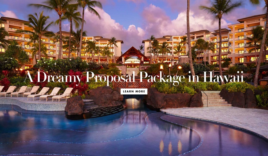 Honeymoon wedding proposal travel package from Montage Kapalua Bay in Maui, Hawaii Harry Winston