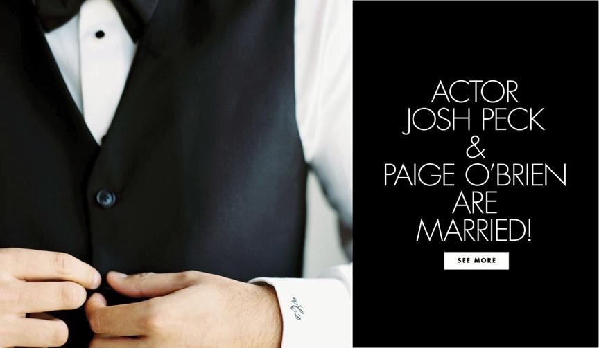 josh peck married to paig o'brien, john stamos at wedding, classic tuxedo