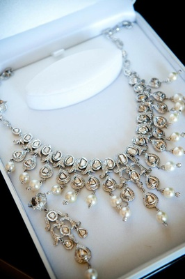 Crystal and pearl jewelry with pave diamonds