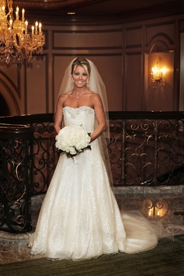 anne barge a-line wedding dress with glittery skirt