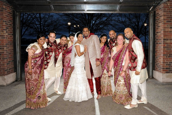 Bride And Groom With Bridesmaids Groomsmen Traditional Indian