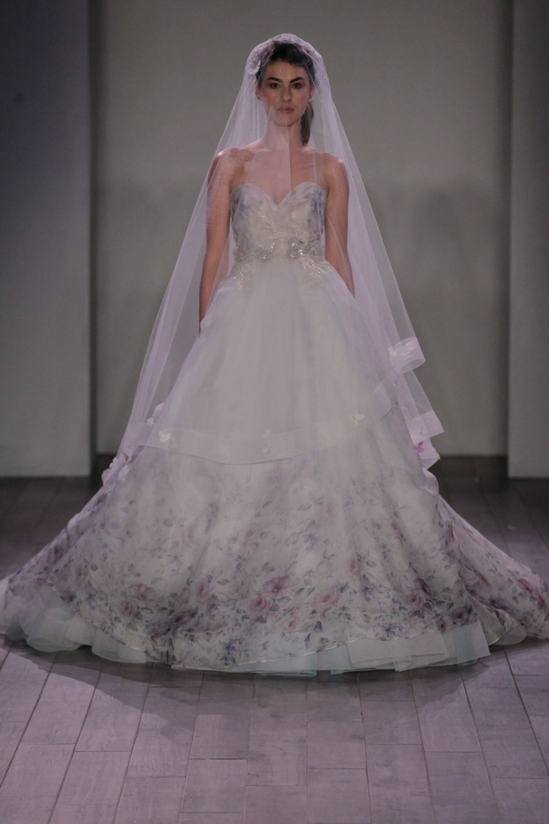 Wedding Dresses Photos - Strapless Floral Ball Gown by Lazaro 2016 ...