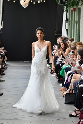 17ec9d0feff Nouvelle Amsale spring 2019 bridal collection wedding dress Abbey spaghetti  strap gown lace tulle.