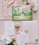 pink laser cut envelope, watercolor invitation with gold foil