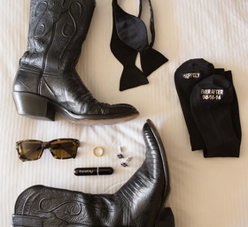 Texas groom wedding accessories with black cowboy boots