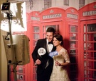 London england theme photo booth for british groom red telephone booth funny english sayings props