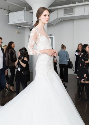 4ee9e21f649 Marchesa Bridal Spring Summer 2018 fit-and-flare gown long illusion sleeves  lace
