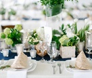 Nautical theme wedding with blue table runner, kraft paper menus, and green centerpieces
