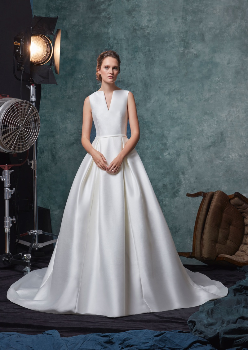 Sareh Nouri fall 2019 bridal collection wedding dress Blake V-neck shantung ball gown pleated skirt
