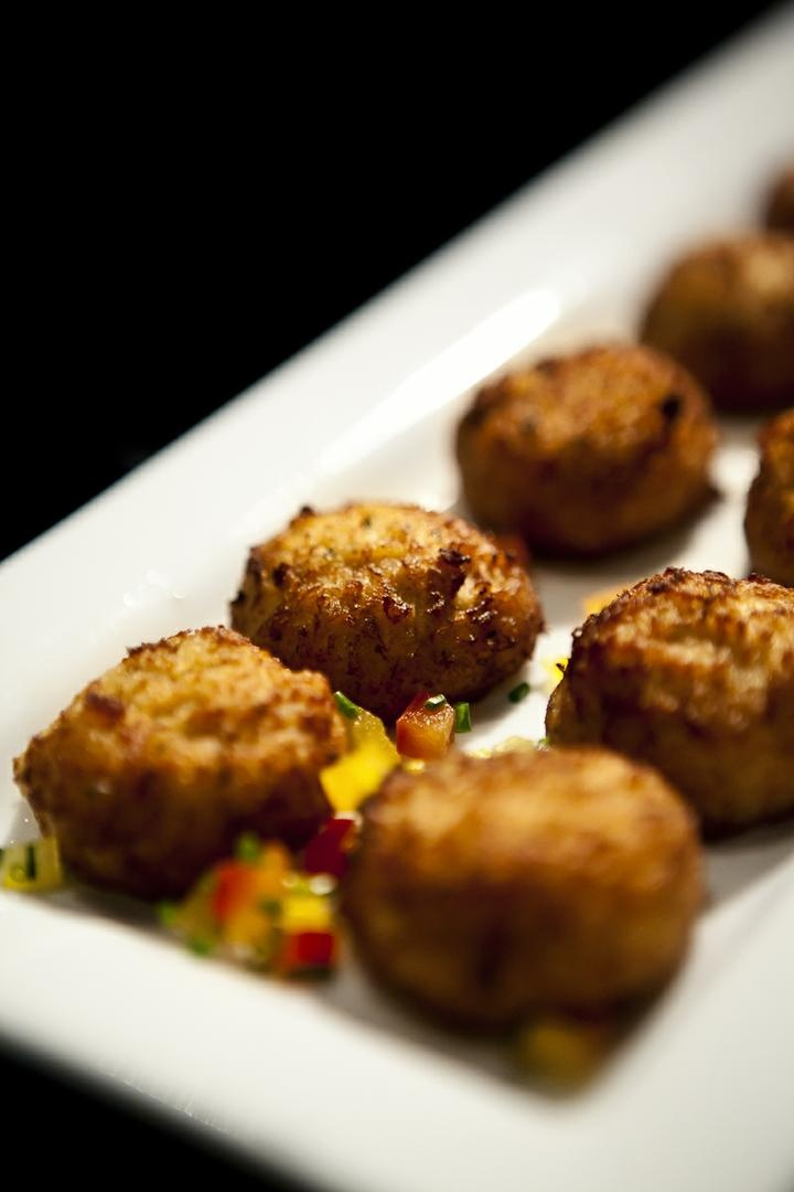 Tray-passed croquettes with colorful peppers