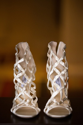 bridal shoes jimmy choo ivory satin cage sandals, edgy bridal shoes