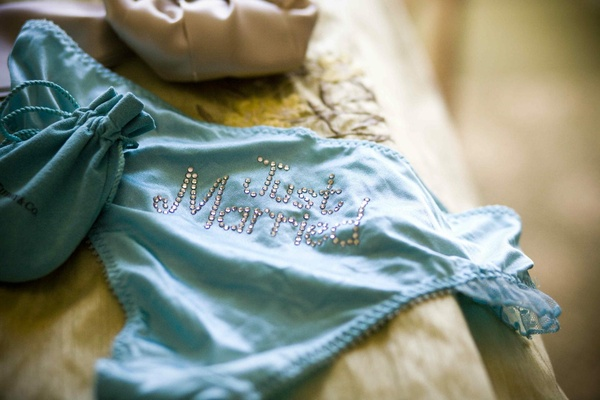 Tiffany blue underwear with rhinestone Just Married on butt