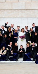 Wedding party groomsmen and bridesmaids flower bouquet purple marble stairs venue bride and groom