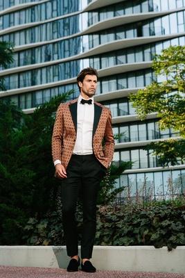 groom in jojayden tuxedo, bronze geometric pattern tuxedo jackets, slipper shoes