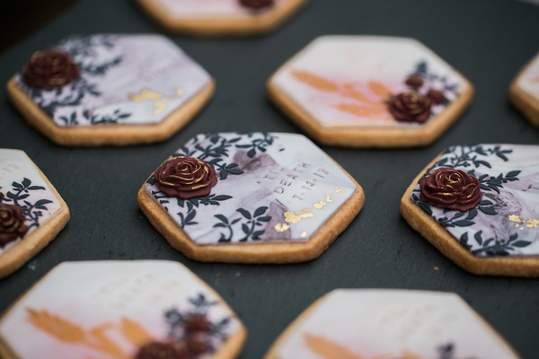 """painted sugar cookiers for bridal shower embossed with """"till death"""""""