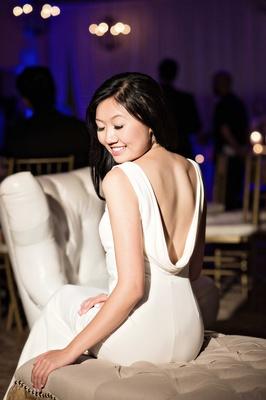 low back ivory reception gown slinky sexy second dress southern california wedding bel-air bay club