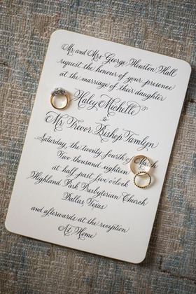 wedding invitation for traditional wedding ceremony church and at home reception gold rings on top