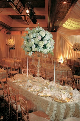 Long oval table with beaded fabric and tall hydrangea centerpiece