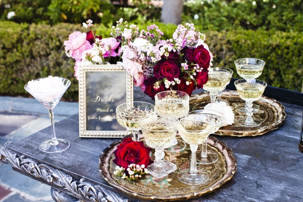Champagne glasses at Nikki Sixx and Courtney Bingham wedding
