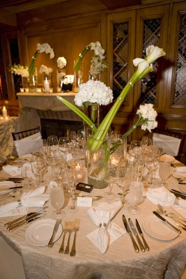 Variety of florals in glass vases on table