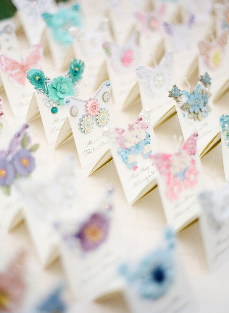 Handmade seating card with butterflies and flowers