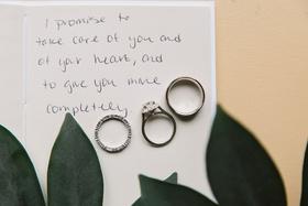 wedding rings displayed handwritten note ohio wedding jewelry diamonds accessories day-of