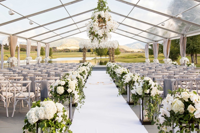 Open side clear tent wedding ceremony ranch aspen colorado white flowers antlers decor lanterns & Ceremony Décor Photos - Clear Tent Wedding in Aspen - Inside Weddings