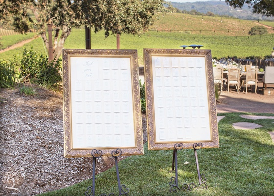 Wedding outdoor reception cocktail hour gold frame seating charts side by side on grass
