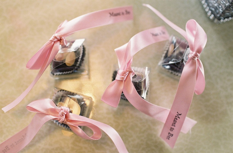 "Wedding favors with light pink ribbon with ""Meant to Be"""