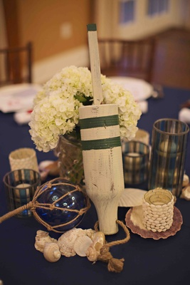 Nautical rehearsal dinner table decorations