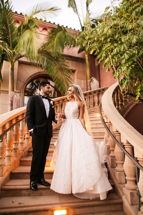 outdoor wedding venue grand staircase grand del mar high neck hayley paige wedding dress groom tux
