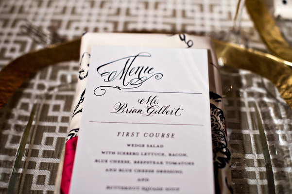 Wedding dinner menu with personal name tags