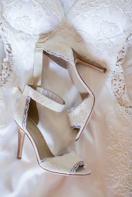 lace wedding shoes with ankle strap Heidi Mueller wedding attire
