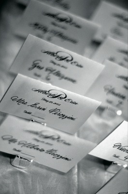 Black and white picture of place cards in calligraphy
