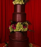 Chocolate cake with green hydrangea and feathers