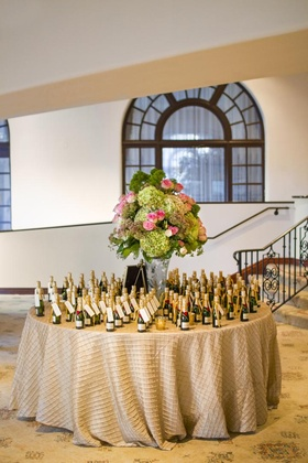 Round table centerpiece and Moet Chandon