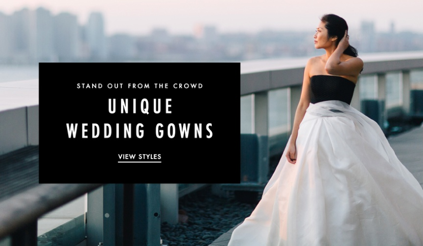 Unique wedding dresses and unusual wedding dresses.