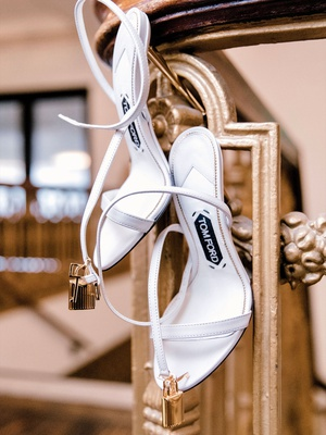 Tom Ford sandals wedding shoes with gold lock design gold padlock naked sandal in chalk white