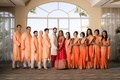 indian wedding party bride and groom in lehnga sherwani sari