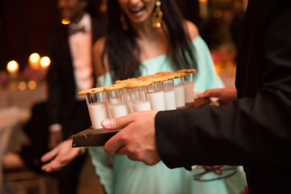 milk and cookies as late-night snack at wedding reception