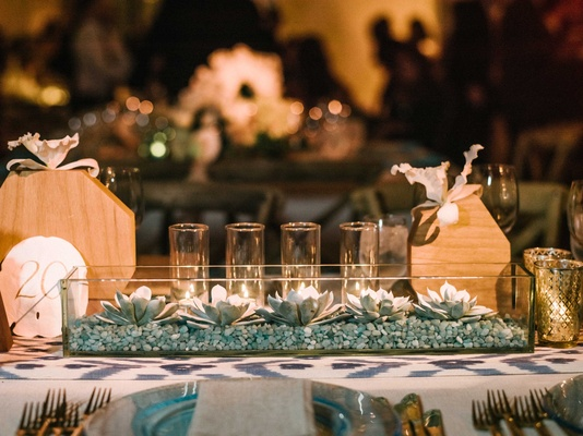 Wedding reception centerpiece blue rocks in glass trough with succulent plants, candles, sand dollar