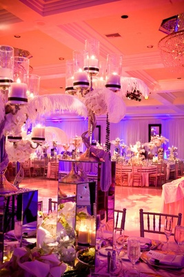 Glamorous reception centerpiece with plumes