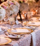 gold rimmed chargers textured linens pink classic dallas texas feminine color palette traditional