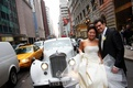 Bride and groom in middle of New York City street