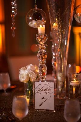 crystal candle holder, crystal frame holding table number script