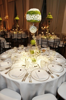 Chicago private club wedding with whimsical details inside weddings white wedding reception table with green mum decorations junglespirit Choice Image
