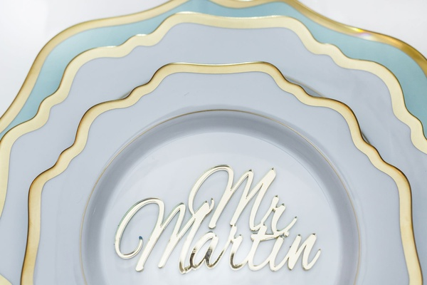 Wedding reception groom laser cut mirror name sign on white gold china reception