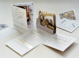 Wedding invite in gold and silver with Oklahoma skyline